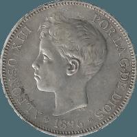 Moneda Alfonso XIII 5 Pesetas Plata PGV 24,86 g