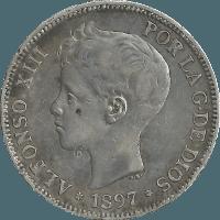 Moneda Alfonso XIII 5 Pesetas Plata SGV 24,80 g