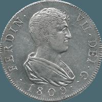 Moneda Fernando VII 8 Reales Plata 1809 Cataluña SF 26,90 g