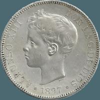 Moneda Alfonso XIII 5 Pesetas Plata SGV 24,91 g