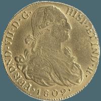 Moneda Fernando VII 8 Escudos Oro 1809 Popayán JF 26,96 gr