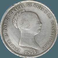 Moneda Isabel II 20 Reales Plata 1855 Madrid 25,83 gr