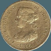 Moneda Isabel II 4 Escudos Oro 1866 Madrid 3,35 gr