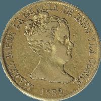 Moneda Isabel II 80 Reales Oro 1839 Barcelona PS CONST 6,67 g