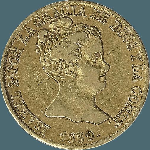 Moneda Isabel II 80 Reales Oro 1839 Barcelona PS CONST 6,67 gr