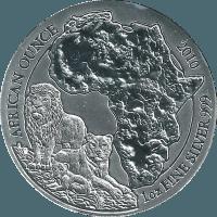 Moneda Ruanda 50 Francos Plata León 1 oz