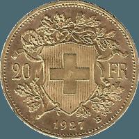 Moneda Suiza 20 Francos Oro 6,45 g