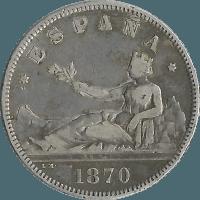 Moneda Gobierno Provisional 2 Pesetas Plata 1870*1874 DEM 9,92 gr