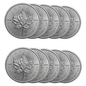 Lote 10 Monedas Maple Leaf de Plata de 1oz 2020