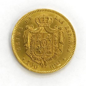 Moneda España 100 Reales Oro 1864 Madrid 8,36 g