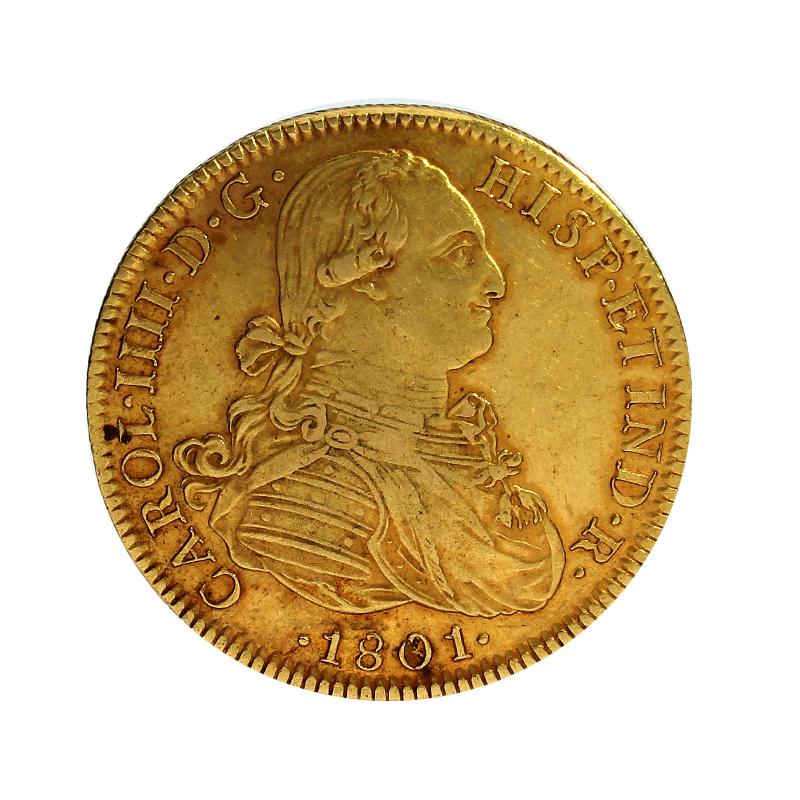 Moneda España 8 Escudos Oro 1801 México FT 26,99 g