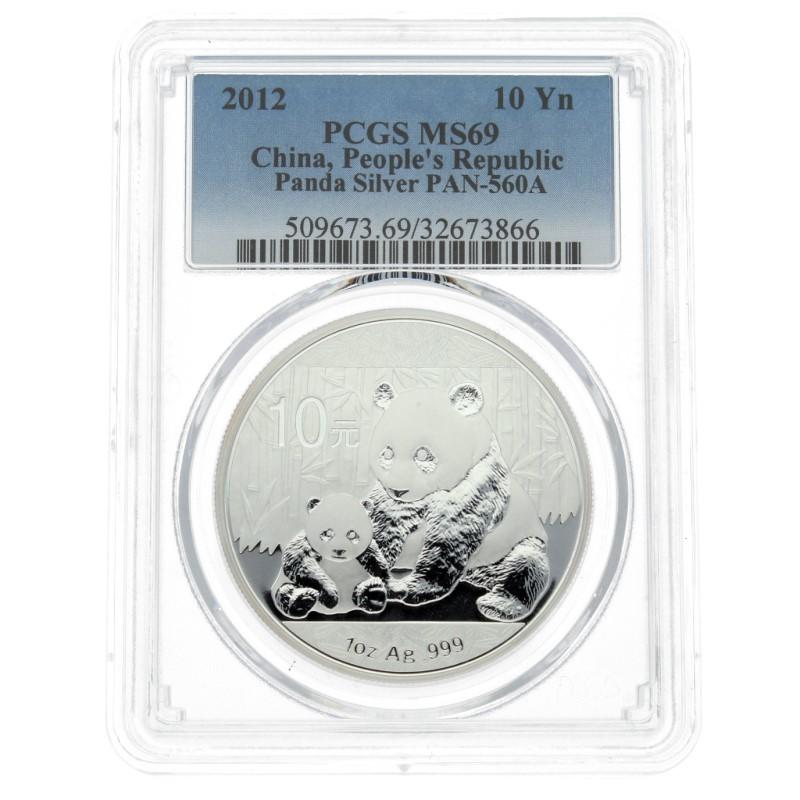 Moneda China 10 Yuan Panda Plata 2012 PCGS MS69 1 oz