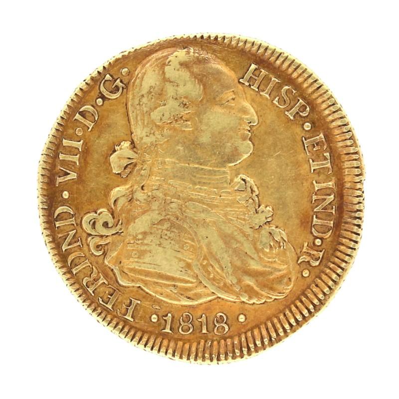 Moneda España 8 Escudos  Oro 1818 Popayán FM 26,94 g
