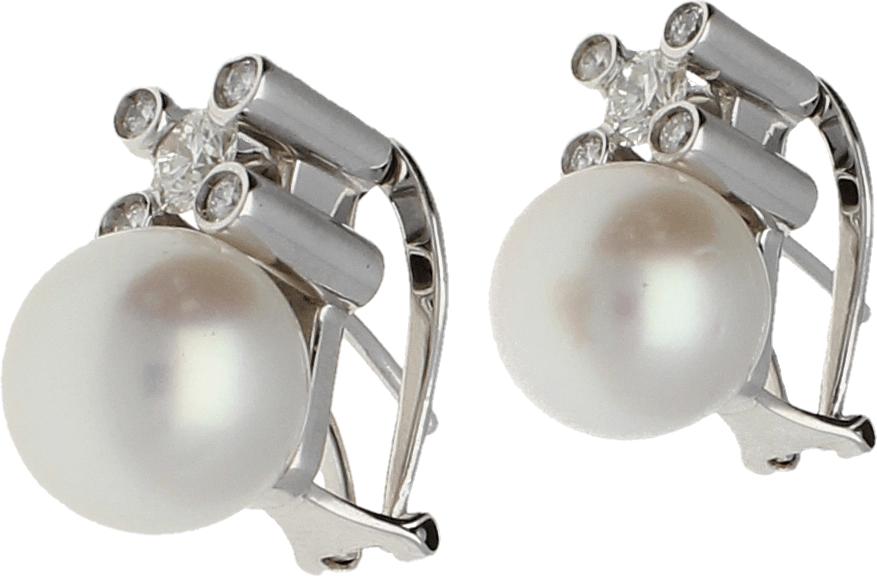 Pendientes Oro Blanco Tu y Yo. Perla cultivada 11,90 mm. 5 Diamantes talla brillante 1,12 Ct. aprox 15,7 gr