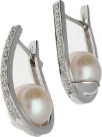 Pendientes Oro Blanco Perla cultivada 9,70 mm. aprox.  Diamantes talla brillante. 7,69 g