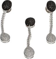 Pendientes / Colgante . Oro Blanco y Pav' Diamantes Blanco / Negro talla Brillante. Colgante a juego 23 g