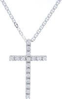 Cadena / Colgante Cruz Oro Blanco Diamantes talla brillante 0,50 Ct aprox. 2,50 g