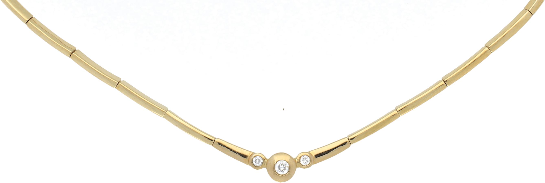 Gargantilla Oro Amarillo Articulada. Centro Diamantes talla brillante 0,24 Ct. 22,33 g