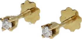 Pendientes Dormilonas Oro Amarillo y Diamantes 0,06 Ct. aprox. 0,80 g