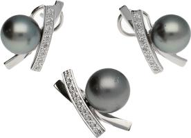 Pendientes / Colgante Oro Blanco Perla Tahití 10,50mm, y Diamantes. 14 g