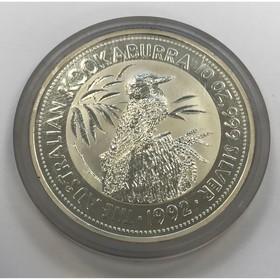Moneda Australia 10 Dollars Kookaburra Plata 1992 10 oz