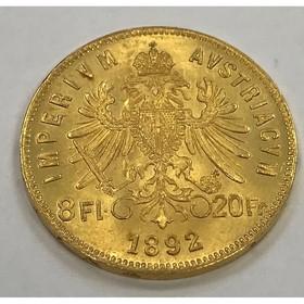 Moneda Austria 8 Florines 20 Francos Oro 1892 6,44 g