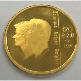 Moneda Bélgica 50 Ecu Oro 1996 <sup>1</sup>/<sub>2</sub> oz