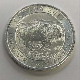 Moneda Canadá 8 Dollars Bisonte Plata 2015 1 oz y <sup>1</sup>/<sub>4</sub>