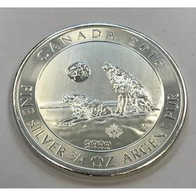 Moneda Canadá 2 Dollars Lobo Plata 2016 <sup>3</sup>/<sub>4</sub> oz