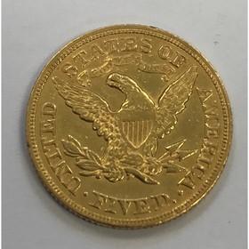 Moneda Estados Unidos 5 Dollars Oro 1880 8,34 g