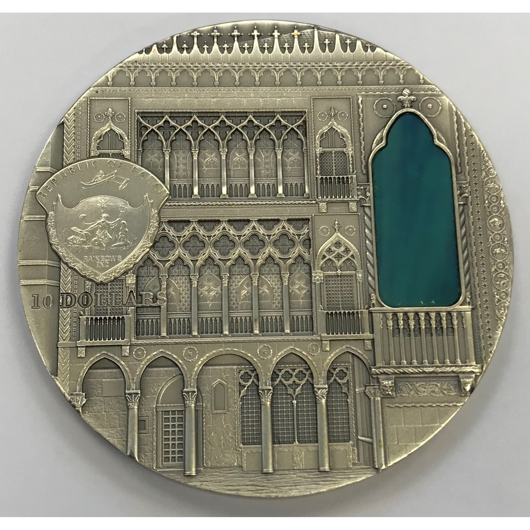 Moneda Palaos 10 Dollars Venetian Gothic Plata 2 oz