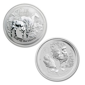 Lote de 2 Monedas de 5 oz Año del Caballo y del Gallo de Plata