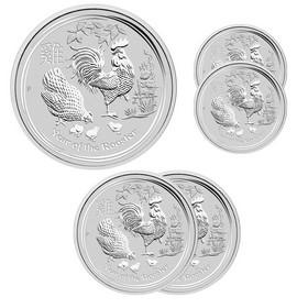 Lote de 4 Monedas de Plata Año Lunar del Gallo