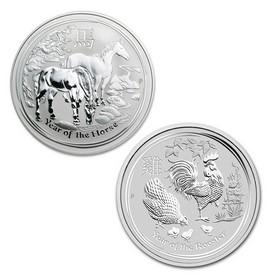 Lote de 2 Monedas de 5 oz de Plata Año del Caballo y del Gallo