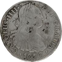 Moneda Carlos IIII 8 Reales Plata 1797 Mé'xico FM 26,55 g