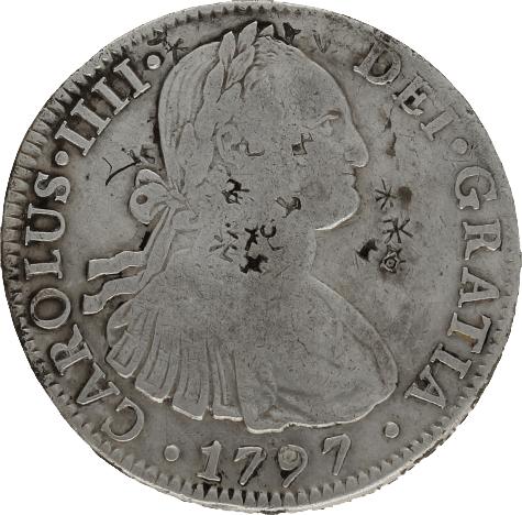 Moneda Carlos IIII 8 Reales Plata 1797 Mé'xico FM 26,55 gr