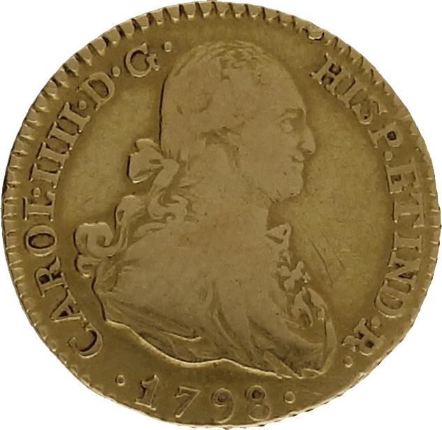 Moneda Carlos IIII 1 Escudo Oro Madrid MF 3,38 g