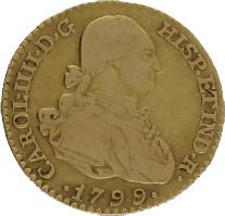 Moneda Carlos IIII 1 Escudo Oro Madrid MF 3,33 g