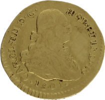 Moneda Carlos IIII 1 Escudo Oro 1801 Popayan JF 3,38 gr