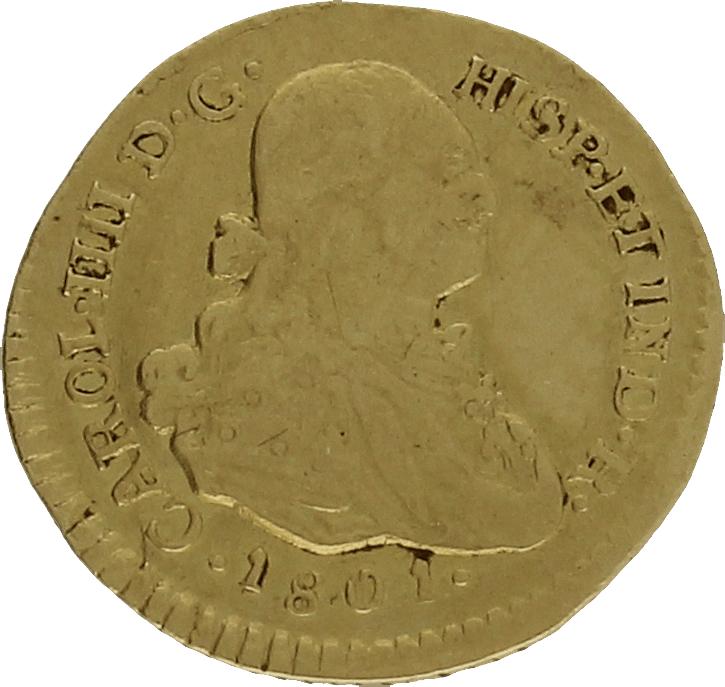 Moneda Carlos IIII 1 Escudo Oro Popayan JF 3,38 g