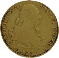 Moneda Carlos IIII 2 Escudos Oro 1801 Sevilla CN 6,65 g