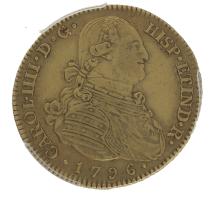Moneda Carlos IIII 4 Escudos Oro 1796 Madrid MF