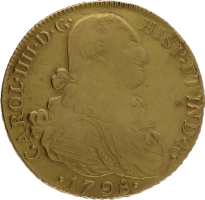 Moneda Carlos IIII 8 Escudos Oro 1798 Nuevo Reino JJ 27,13 g