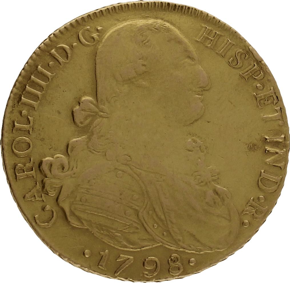 Moneda Carlos IIII 8 Escudos Oro Nuevo Reino JJ 27,13 g