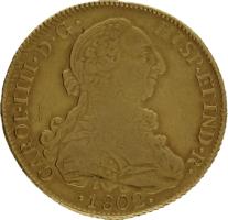 Moneda Carlos IIII 8 Escudos Oro 1802 Santiago JJ 26,84 g