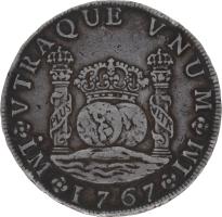 Moneda Carlos III 8 Reales Plata 1767 Lima JM 26,68 g