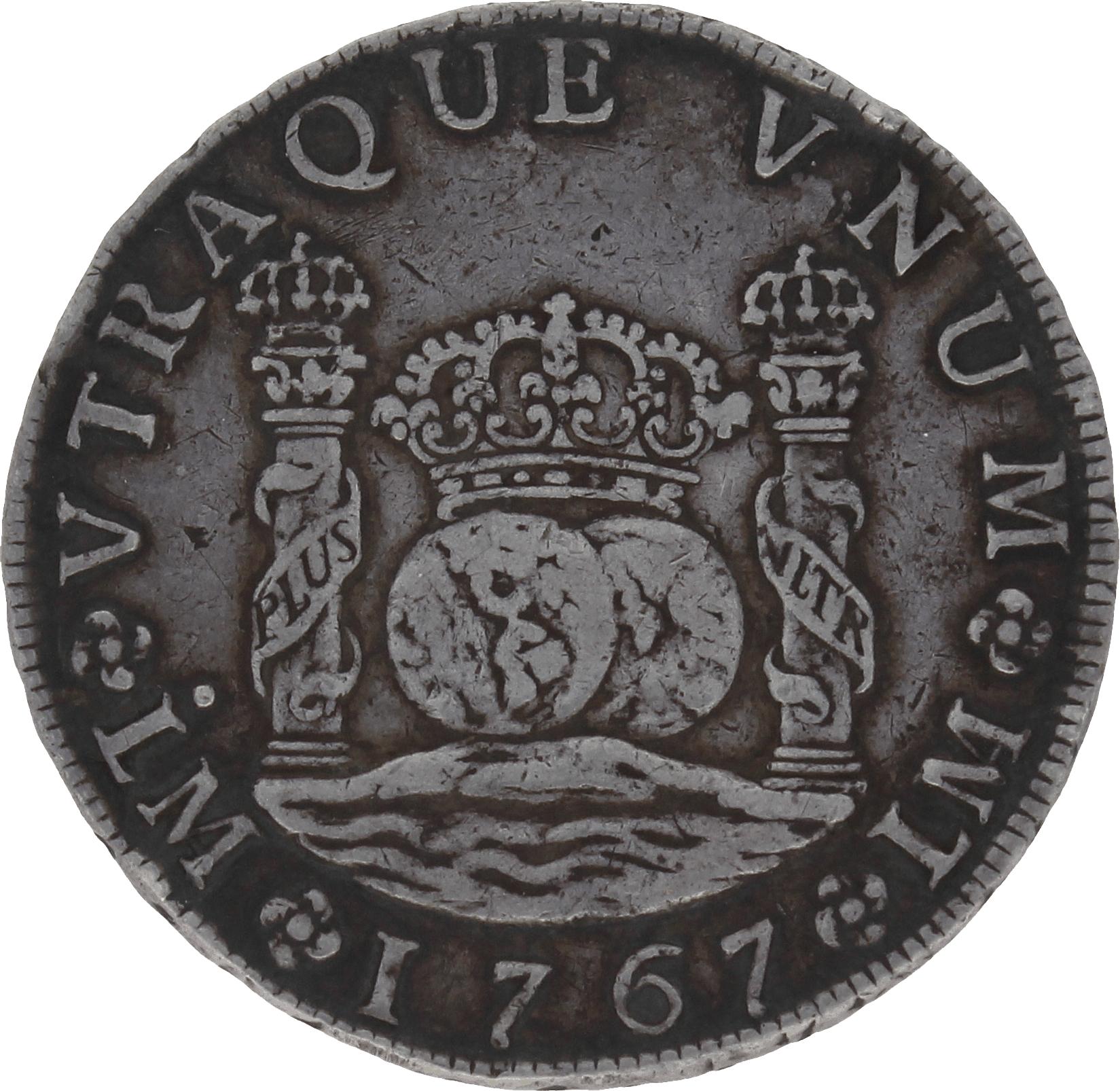 Moneda Carlos III 8 Reales Plata Lima JM 26,68 g