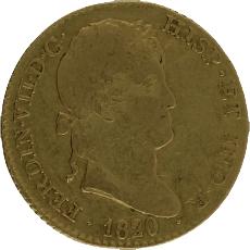 Moneda Fernando VII 2 Escudos Oro 1820 Madrid CJ 6,7 gr