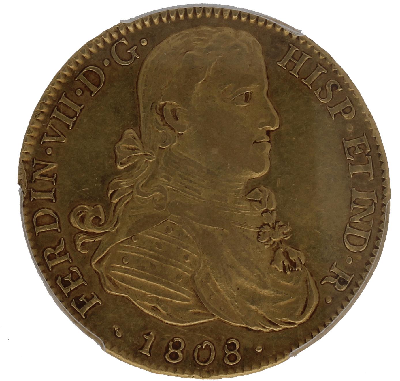 Moneda Fernando VII 8 Escudos Oro Mexico TH