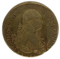 Moneda Fernando VII 8 Escudos Oro 1815 Santiago FJ
